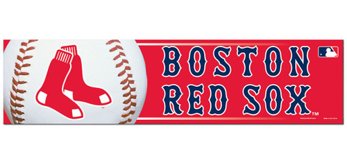 Boston Red Sox Bumper Sticker - Red Background - Special Order