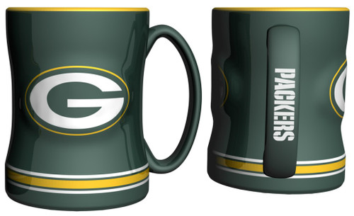 Green Bay Packers Coffee Mug - 14oz Sculpted Relief - Green