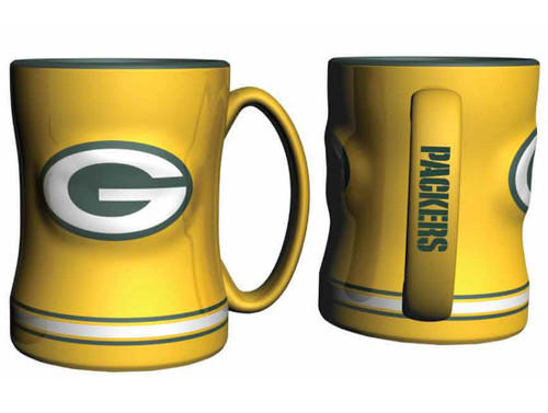 Green Bay Packers Coffee Mug - 14oz Sculpted Relief - Yellow