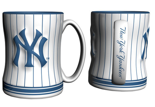 New York Yankees Coffee Mug - 14oz Sculpted Relief - Pinstripes