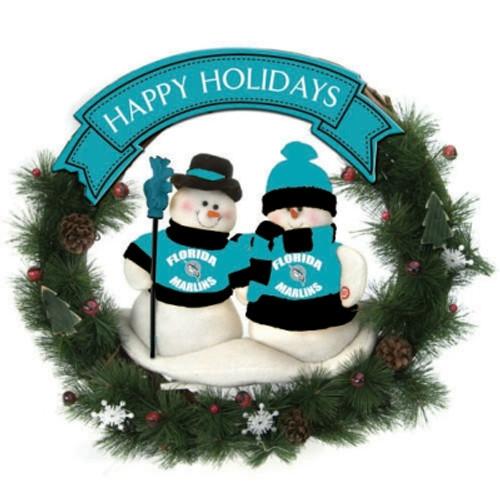 "Florida Marlins 20"" Team Snowman Wreath"