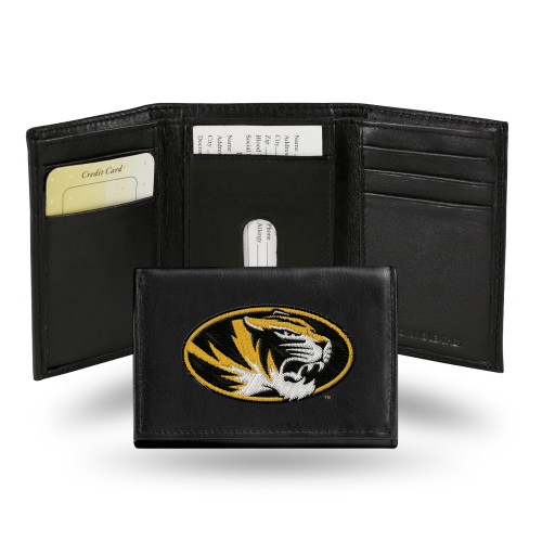 Missouri Tigers Wallet Trifold Leather Embroidered