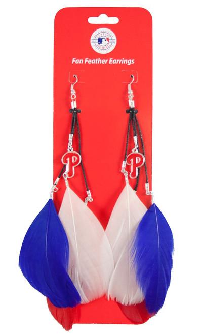 Philadelphia Phillies Team Color Feather Earrings CO