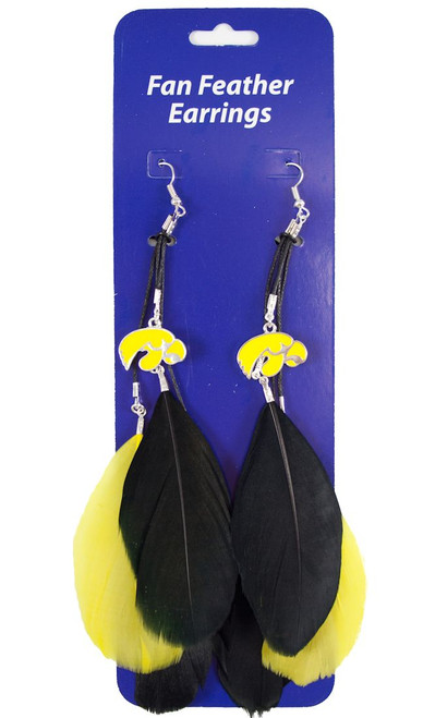 Iowa Hawkeyes Team Color Feather Earrings CO