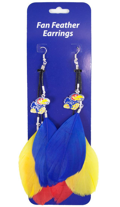 Kansas Jayhawks Team Color Feather Earrings CO