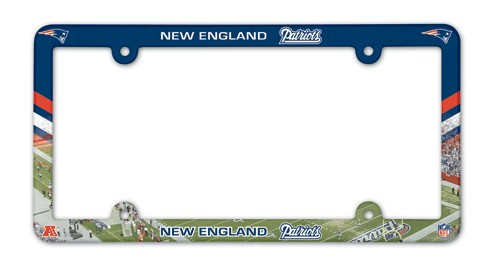 New England Patriots License Plate Frame Plastic Full Color Style