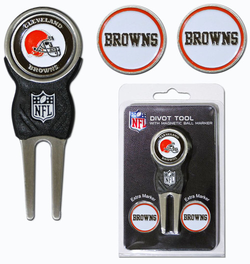 Cleveland Browns Golf Divot Tool with 3 Markers