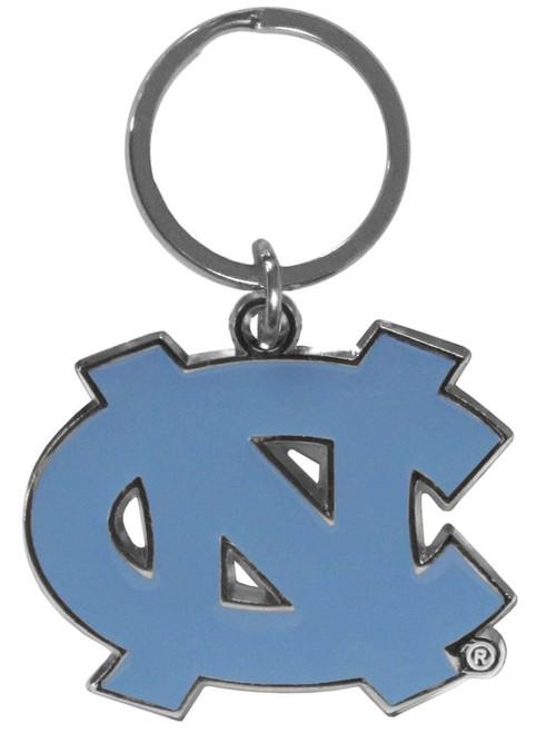 North Carolina Tar Heels Chrome Logo Cut Keychain