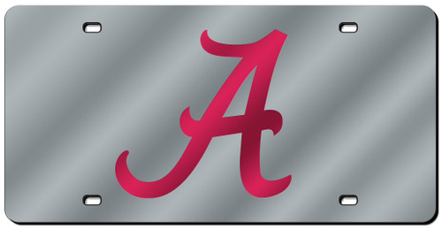 Alabama Crimson Tide License Plate Laser Cut Silver Script A