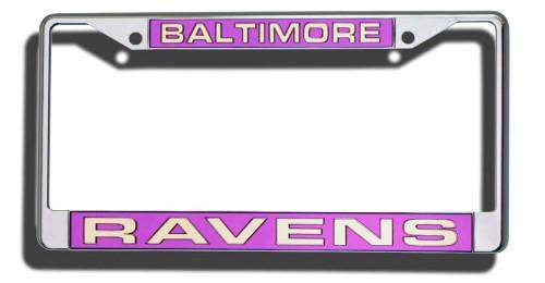 Baltimore Ravens License Plate Frame Laser Cut Chrome