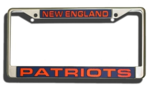New England Patriots License Plate Frame Laser Cut Chrome