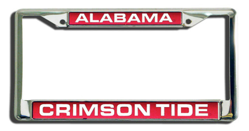 Alabama Crimson Tide License Plate Frame Laser Cut Chrome