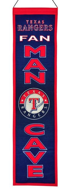 Texas Rangers Banner 8x32 Wool Man Cave