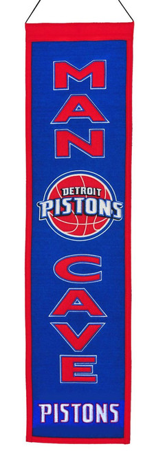 Detroit Pistons Banner 8x32 Wool Man Cave