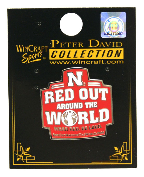 Nebraska Cornhuskers Pin Collector Jewelry Card Style Red Out Design CO