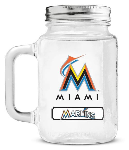 Miami Marlins Mason Jar Glass With Lid