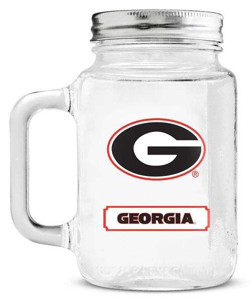 Georgia Bulldogs Mason Jar Glass With Lid