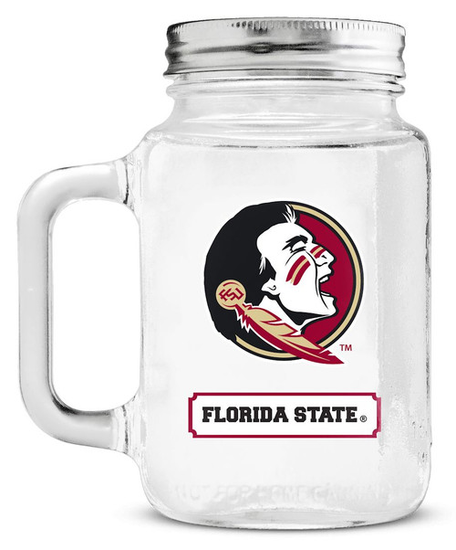 Florida State Seminoles Mason Jar Glass With Lid
