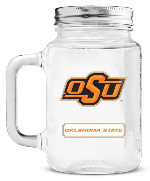 Oklahoma State Cowboys Mason Jar Glass With Lid