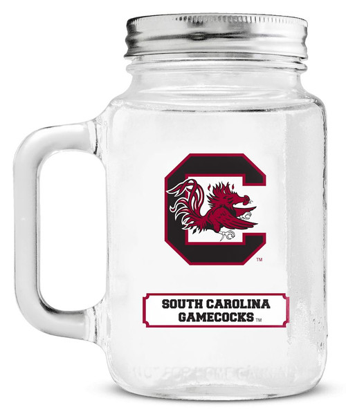 South Carolina Gamecocks Mason Jar Glass With Lid
