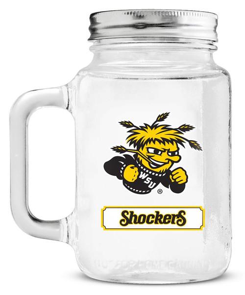 Wichita State Shockers Mason Jar Glass With Lid