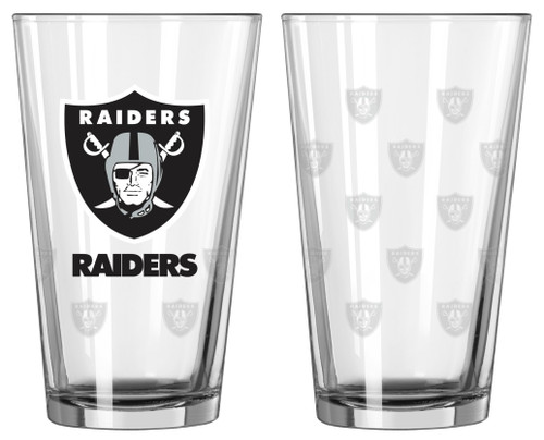 Las Vegas Raiders Satin Etch Pint Glass Set