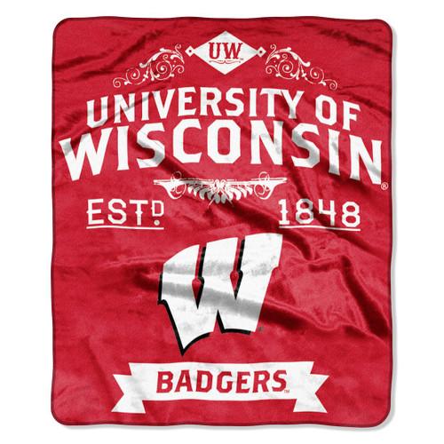 Wisconsin Badgers Blanket 50x60 Raschel Label Design
