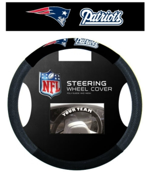 New England Patriots Steering Wheel Cover Mesh Style