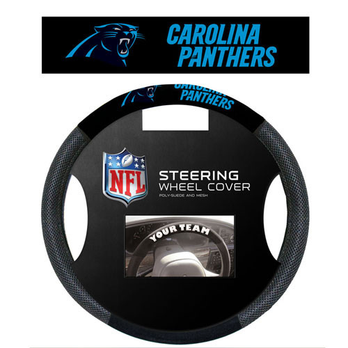 Carolina Panthers Steering Wheel Cover Mesh Style CO