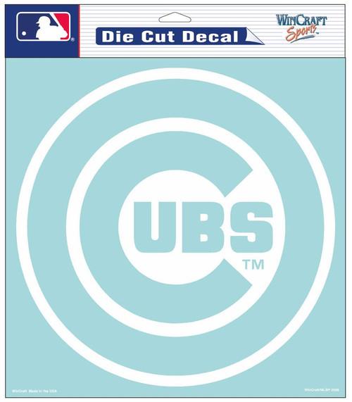 Chicago Cubs Decal 8x8 Die Cut White