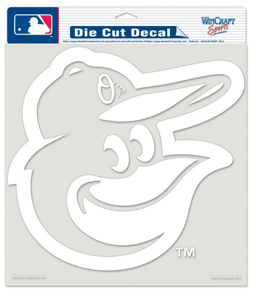 Baltimore Orioles Decal 8x8 Die Cut White