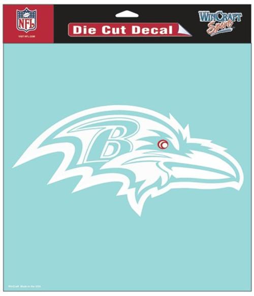 Baltimore Ravens Decal 8x8 Die Cut White
