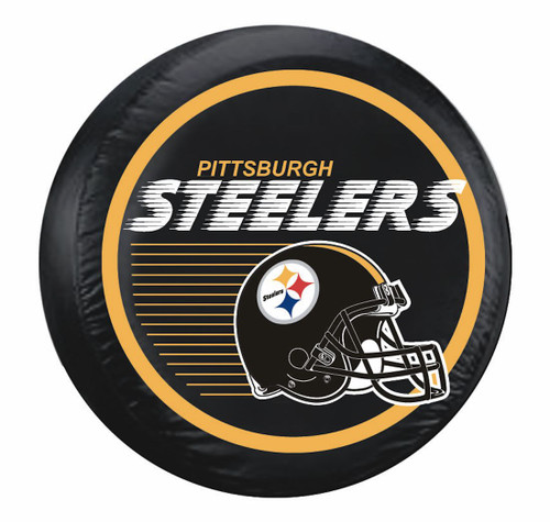 Pittsburgh Steelers Tire Cover Standard Size Black Helmet Design CO