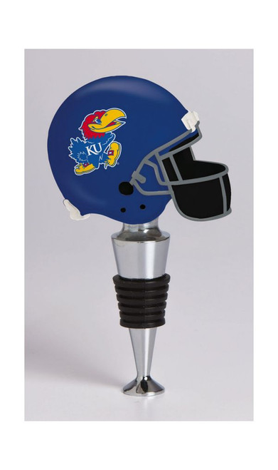 Kansas Jayhawks Wine Bottle Stopper Football Helmet CO