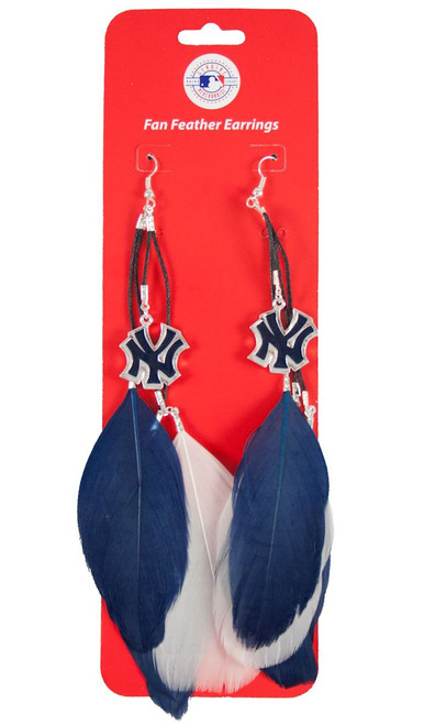 New York Yankees Team Color Feather Earrings CO