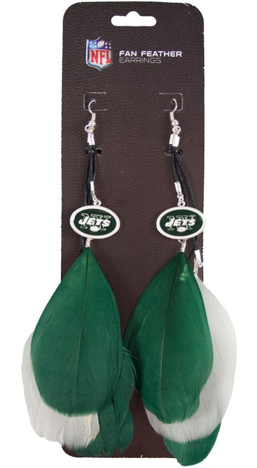 New York Jets Team Color Feather Earrings
