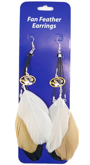 Missouri Tigers Team Color Feather Earrings CO