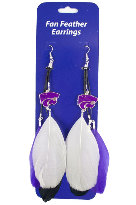 Kansas State Wildcats Team Color Feather Earrings CO