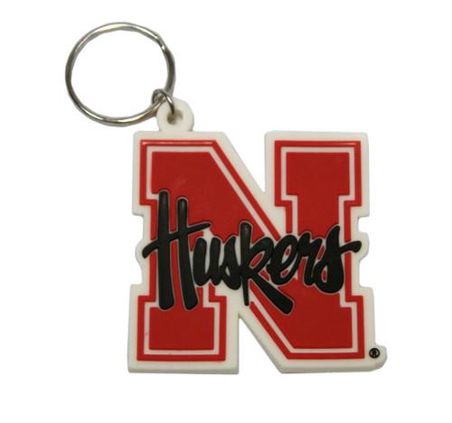 Nebraska Cornhuskers Keychain Rubber Script Logo