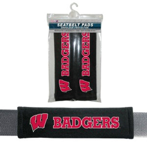 Wisconsin Badgers Seat Belt Pads Velour - Special Order