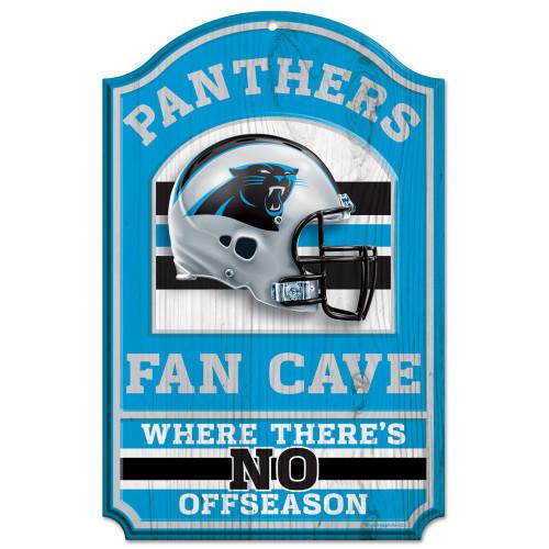 """Carolina Panthers Wood Sign - 11""""x17"""" Fan Cave Design"""