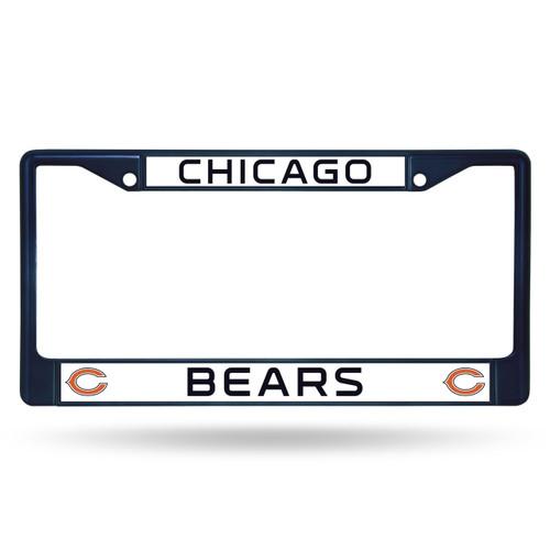 Chicago Bears License Plate Frame Metal Navy