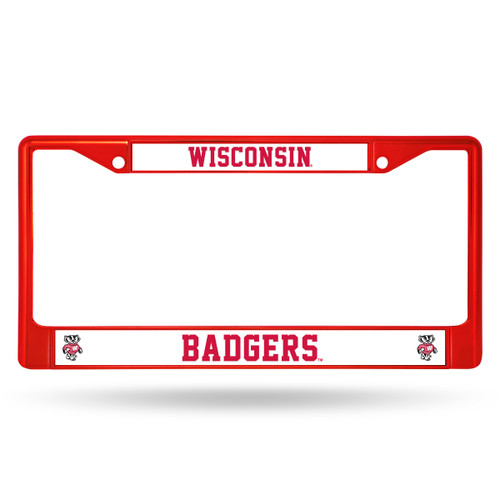 Wisconsin Badgers License Plate Frame Metal Red - Special Order
