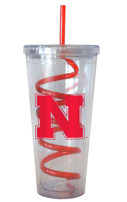 Nebraska Cornhuskers 22 oz Tumbler with Swirl Straw