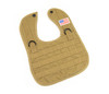 1 NEW TACTICAL DESERT TAN BABY BIB WITH AMERICAN FLAG PATCH