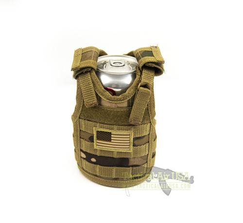 1 NEW TACTICAL DESERT CAMO WITH AMERICAN FLAG CAN / BOTTLE KOOZIE