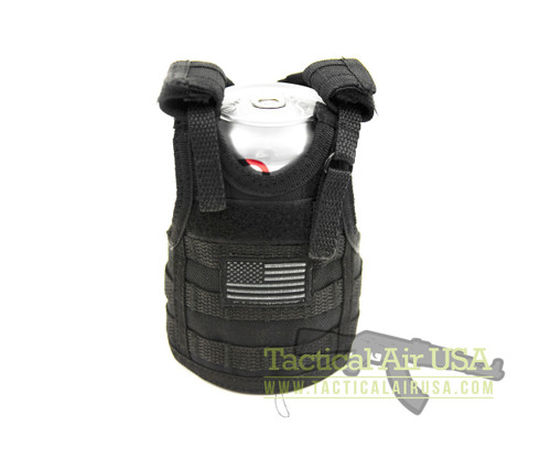1 NEW TACTICAL BLACK  WITH AMERICAN FLAG CAN / BOTTLE KOOZIE