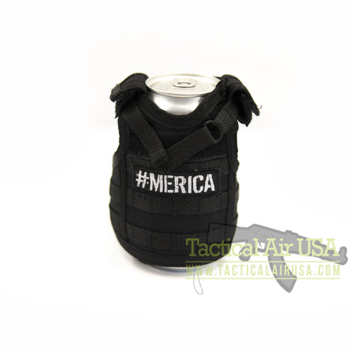 1 NEW TACTICAL BLACK  #MERICA VEST CAN / BOTTLE KOOZIE