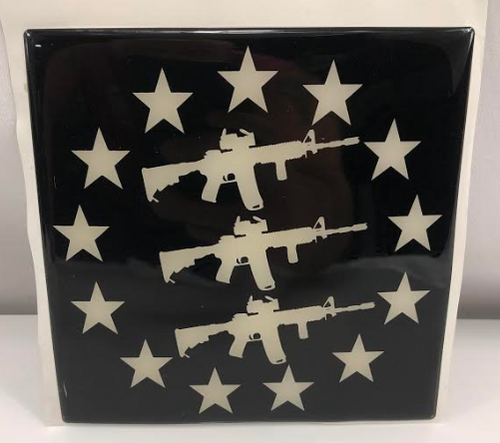 "1 NEW ASSAULT RIFLE / STARS 5""x 5""x1/8"" SOLID HEAVY DUTY STICKER"