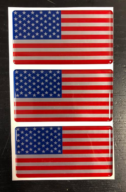 "3 NEW AMERICAN FLAG HEAVY DUTY STICKER 4""x 2"""